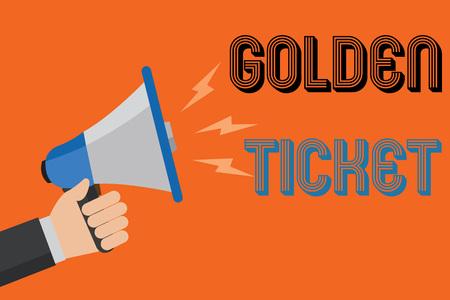 Conceptual hand writing showing Golden Ticket. Business photo text Rain Check Access VIP Passport Box Office Seat Event Man holding loudspeaker orange background message speaking loud Standard-Bild