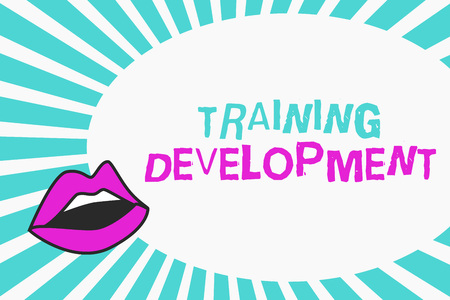Writing note showing Training Development. Business photo showcasing Learn and Expand skills and knowledge Program.
