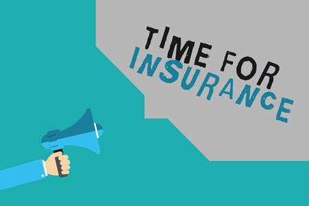 Writing note showing Time For Insurance. Business photo showcasing receives Financial Protection Reimbursement against Loss. Stockfoto