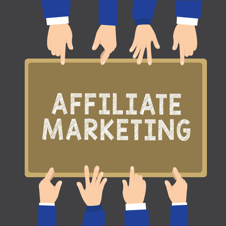 Writing note showing Affiliate Marketing. Business photo showcasing Promoting another demonstratings product Earning a Commission.