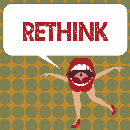 Writing note showing Rethink. Business photo showcasing Think again twice from another perspective Reconsider revise.