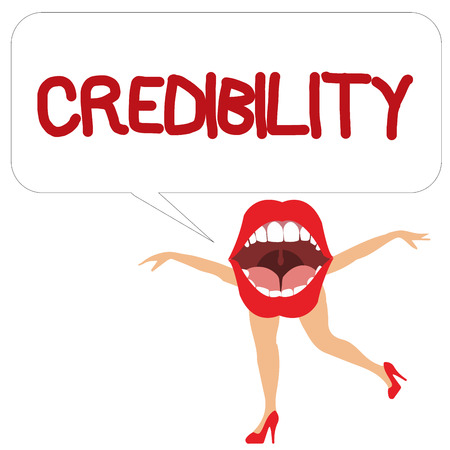Word writing text Credibility. Business concept for Quality of being convincing trusted credible and believed in. Фото со стока