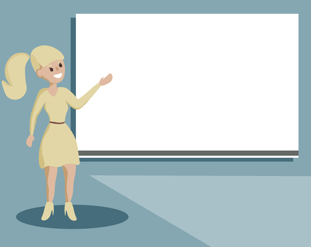 Flat design business Vector Illustration concept Empty template copy space Posters coupons promotional material. Woman Standing Talking Hand Presenting Audio Visual Blank Projector Screen