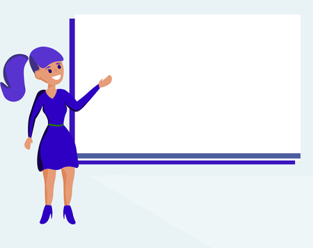 Flat design business Vector Illustration Empty copy space for Ad website promotion esp isolated Banner template. Woman Standing Talking Hand Presenting Audio Visual Blank Projector Screen Vectores