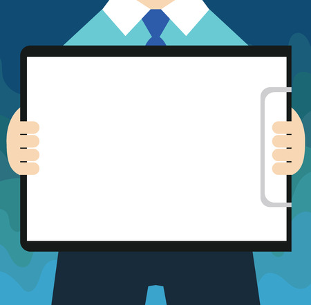 Flat design business Vector Illustration Empty copy space for Ad website promotion esp isolated Banner template. Man in Suit Standing Holding Horizontally Clipboard with Blank Paper
