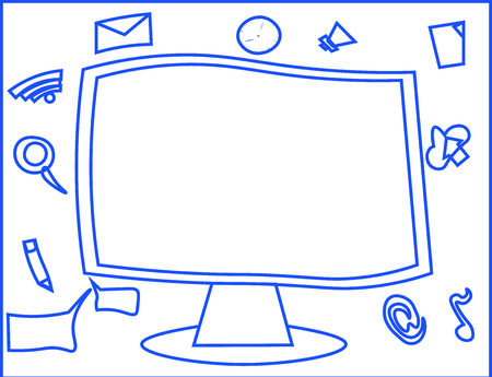 Flat design business Vector Illustration Empty template esp isolated Minimalist graphic layout template for advertising. Web Application Software icons Surrounding Blank Mounted Computer Monitor  イラスト・ベクター素材