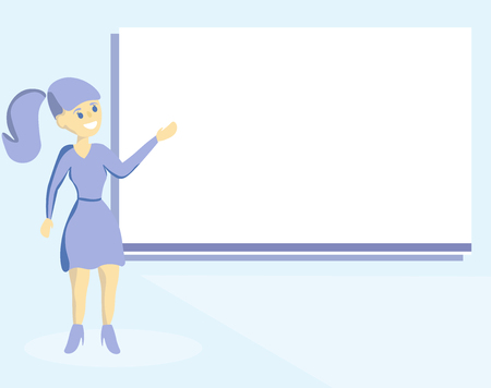 Flat design business Vector Illustration concept template copy space text for Ad website esp isolated 3d isometric. Woman Standing Talking Hand Presenting Audio Visual Blank Projector Screen