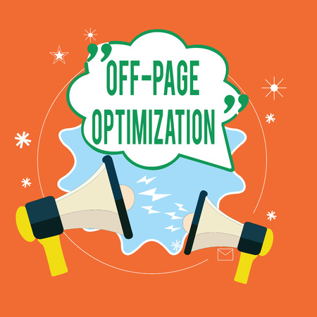 Writing note showing Off Page Optimization. Business photo showcasing Website External Process Promotional Method Ranking.