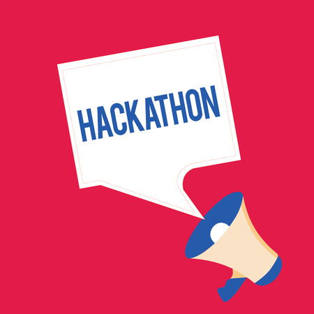 Writing note showing Hackathon. Business photo showcasing event where large number of showing engage in programming.