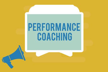 Writing note showing Performance Coaching. Business photo showcasing Facilitate the Development Point out the Good and Bad.