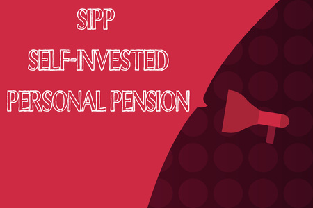 Word writing text Sipp Self Invested Personal Pension. Business concept for Preparing the future Save while young. Stock Photo