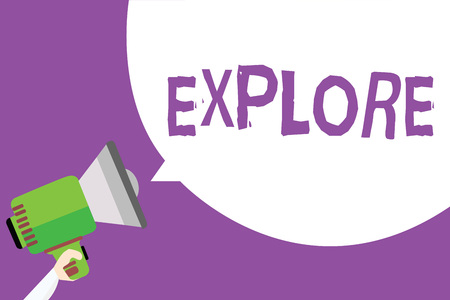 Word writing text Explore. Business concept for Travel somewhere unknown to learn about it Examine Evaluate Man holding megaphone loudspeaker speech bubble message purple background