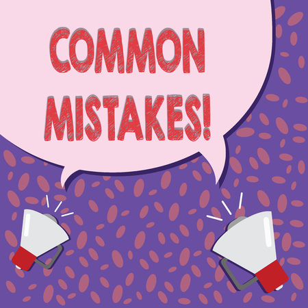 Writing note showing COMMON MISTAKES. Business photo showcasing Prevalent error and issues that occur repetitively.