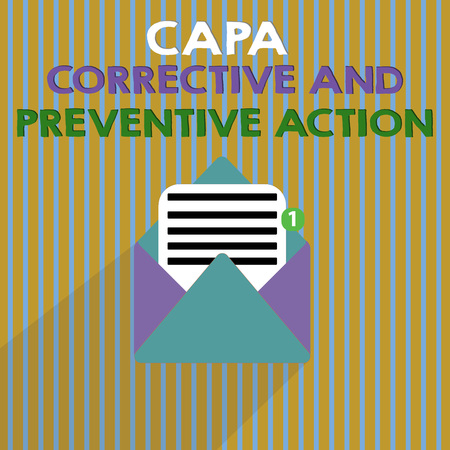 Word writing text Capa Corrective And Preventive Action. Business concept for Elimination of nonconformities. Stok Fotoğraf