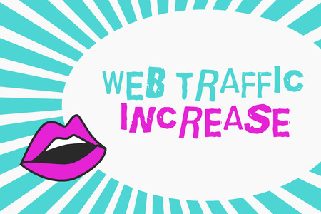 Writing note showing Web Traffic Increase. Business photo showcasing Expand Visitors to a Websitea number of Visits.