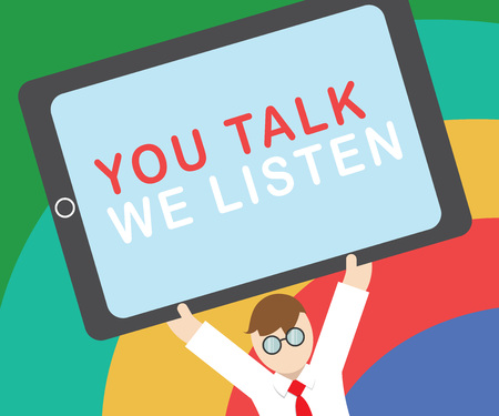 Text sign showing You Talk We Listen. Conceptual photo Two Way Communication Motivational Conversation. 版權商用圖片