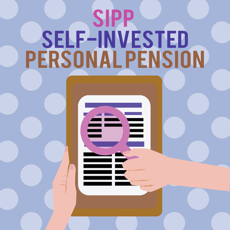 Text sign showing Sipp Self Invested Personal Pension. Conceptual photo Preparing the future Save while young. 版權商用圖片