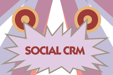 Conceptual hand writing showing Social Crm. Business photo showcasing Customer relationship analysisagement used to engage with customers.