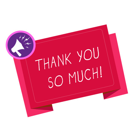 Writing note showing Thank You So Much. Business photo showcasing Expression of Gratitude Greetings of Appreciation. Stock Photo