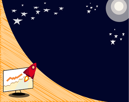Flat design business Vector Illustration concept Empty template copy space Posters coupons promotional material. Spaceship Rocket Blasting off from PC Monitor Flying to Starry Outerspace