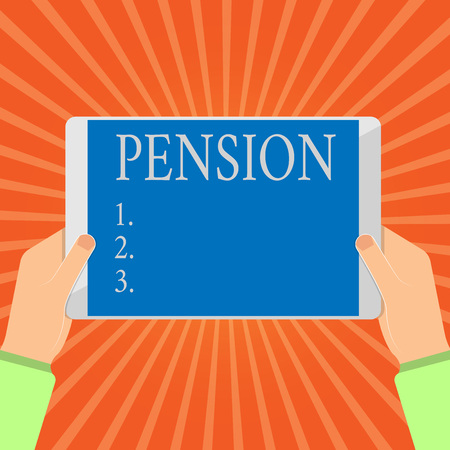 Conceptual hand writing showing Pension. Business photo showcasing Income seniors earn after retirement Saves for elderly years.