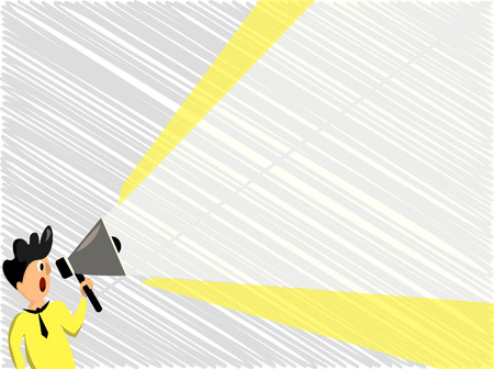 Flat design business Vector Illustration concept template copy space text for Ad website esp isolated 3d isometric. Man Standing Talking Holding Megaphone with Extended Volume Pitch Power