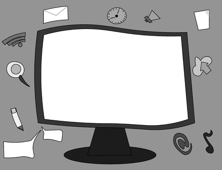 Flat design Vector Illustration Empty esp template copy text for Ad, promotion, poster, flyer, web banner, article. Web Application Software icons Surrounding Blank Mounted Computer Monitor