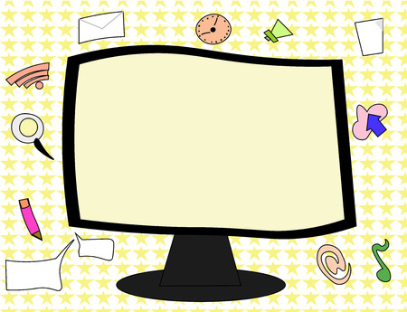 Flat design business Vector Illustration concept template copy space text for Ad website esp isolated 3d isometric. Web Application Software icons Surrounding Blank Mounted Computer Monitor
