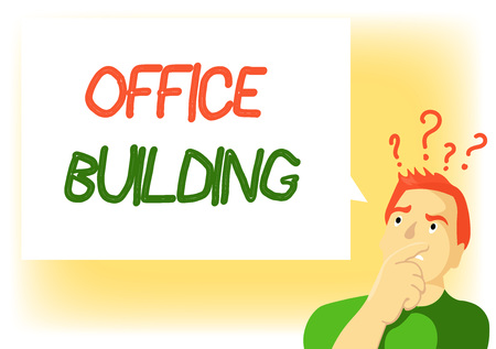 Writing note showing Office Building. Business photo showcasing Commercial buildings are used for commercial purposes.