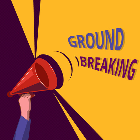 Conceptual hand writing showing Ground Breaking. Business photo showcasing Very new and a big change from other things of its type. Stockfoto
