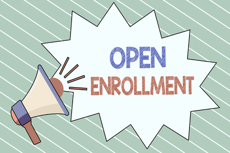 Writing note showing  Open Enrollment. Business photo showcasing The yearly period when people can enroll an insurance.