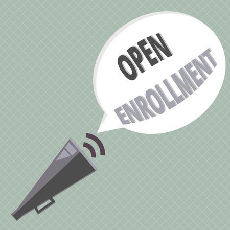 Handschrift Text schreiben Open Enrollment. Konzeptbedeutung Der jährliche Zeitraum, in dem Personen eine Versicherung abschließen können. Standard-Bild