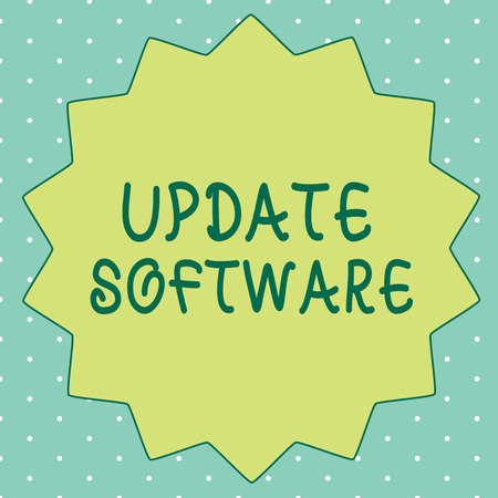 Handwriting text writing Update Software. Concept meaning replacing program with a newer version of same product.