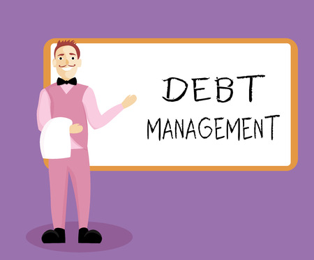 Writing note showing Debt Management. Business photo showcasing The formal agreement between a debtor and a creditor.