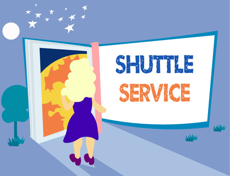 Word writing text Shuttle Service. Business concept for vehicles like buses travel frequently between two places.