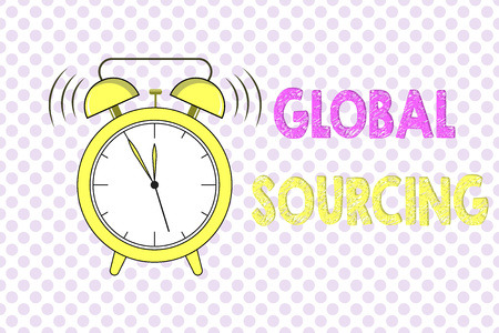 Word writing text Global Sourcing. Business concept for practice of sourcing from the global market for goods.