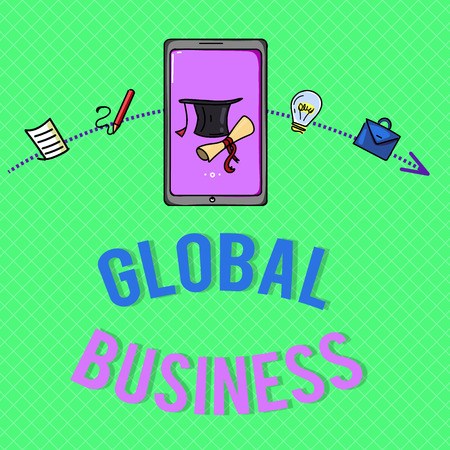 Text sign showing Global Business. Conceptual photo Trade and business system a company doing across the world. 版權商用圖片