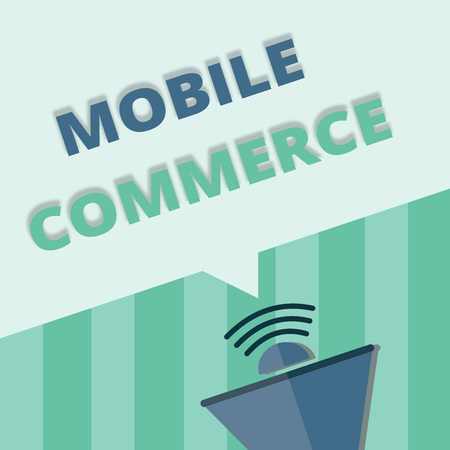 Word writing text Mobile Commerce. Business concept for Using mobile phone to conduct commercial transactions online.