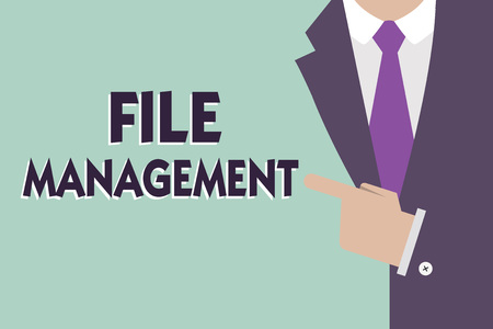 Text sign showing File Management. Conceptual photo computer program that provides user interface to manage data. Stock Photo