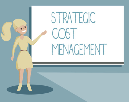 Writing note showing Strategic Cost Management. Business photo showcasing combining Decision Making with Expenses Budgeting. Banco de Imagens