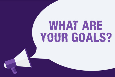 Handwriting text What Are Your Goals question. Concept meaning ask the Desired End Results to know the plans Megaphone loudspeaker speech bubbles important message speaking out loud Фото со стока