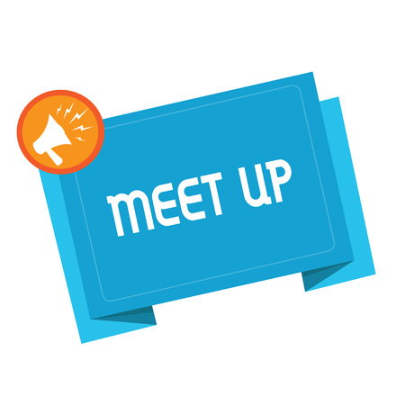 Text sign showing Meet Up. Conceptual photo Informal meeting gathering Teamwork Discussion group collaboration.