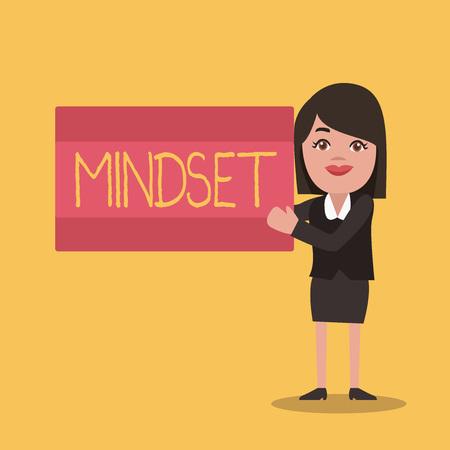 Writing note showing Mindset. Business photo showcasing Established set of attitudes held by someone Positive attitude.