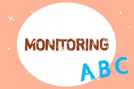 Text sign showing Monitoring. Conceptual photo Observe check progress quality of something over a period of time. Stock Photo