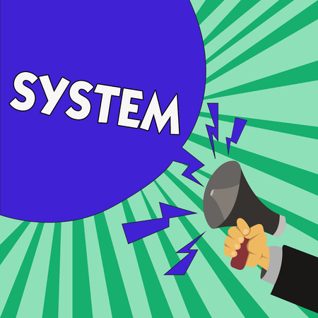 Text sign showing System. Conceptual photo set of things working together as parts mechanism or network.