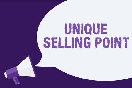 Handwriting text Unique Selling Point. Concept meaning Differentiate a Product Specific Features and Benefits Megaphone loudspeaker speech bubbles important message speaking out loud