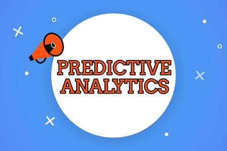 Escritura de texto Word Análisis predictivo. Concepto de negocio para optimizar la colección Lograr CRMIdentify Customer. Foto de archivo