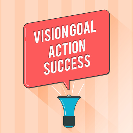 Text sign showing Vision Goal Action Success. Conceptual photo Strategic Planning Process Act your Dreams.