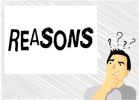 Wortschreibtext Gründe. Geschäftskonzept für Ursachen Erklärungen Begründungen für eine Aktion oder ein Ereignis Motivation.