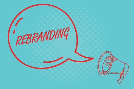 Writing note showing Rebranding. Business photo showcasing Change corporate image of company organization Marketing strategy.